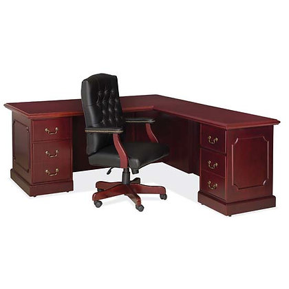 abbey collection managers L shaped desk right side wood veneer in mahogany finish