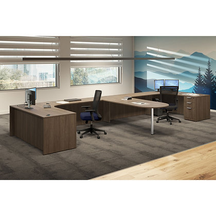 new office furniture os laminate collection shared office set up in walnut finish typical os170