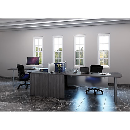 set of 2 laminate L shaped desk with modesty panel available in 8 finishes
