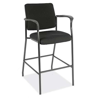 sleek guest stools with padded back and seat black with black frame