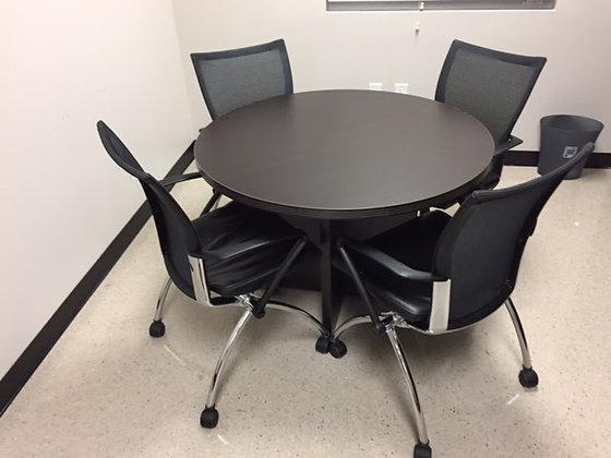 "cherryman 42"" diameter meeting round table in dark espresso finish with matching X base"