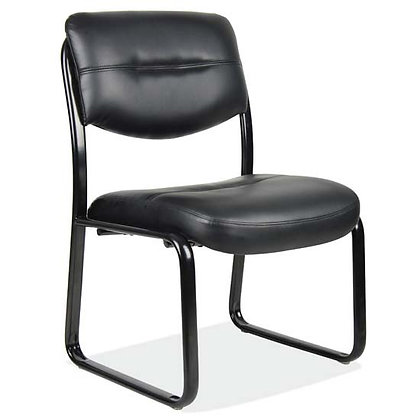 armless guest chairs in black vinyl with heavy duty black base