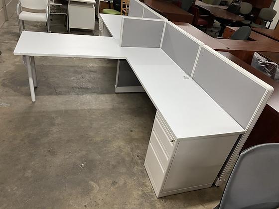 """Haworth """"T"""" shaped cubicles set up"""