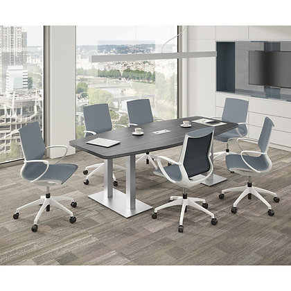 multi purpose collection 8' boat shaped conference with brush aluminum bases