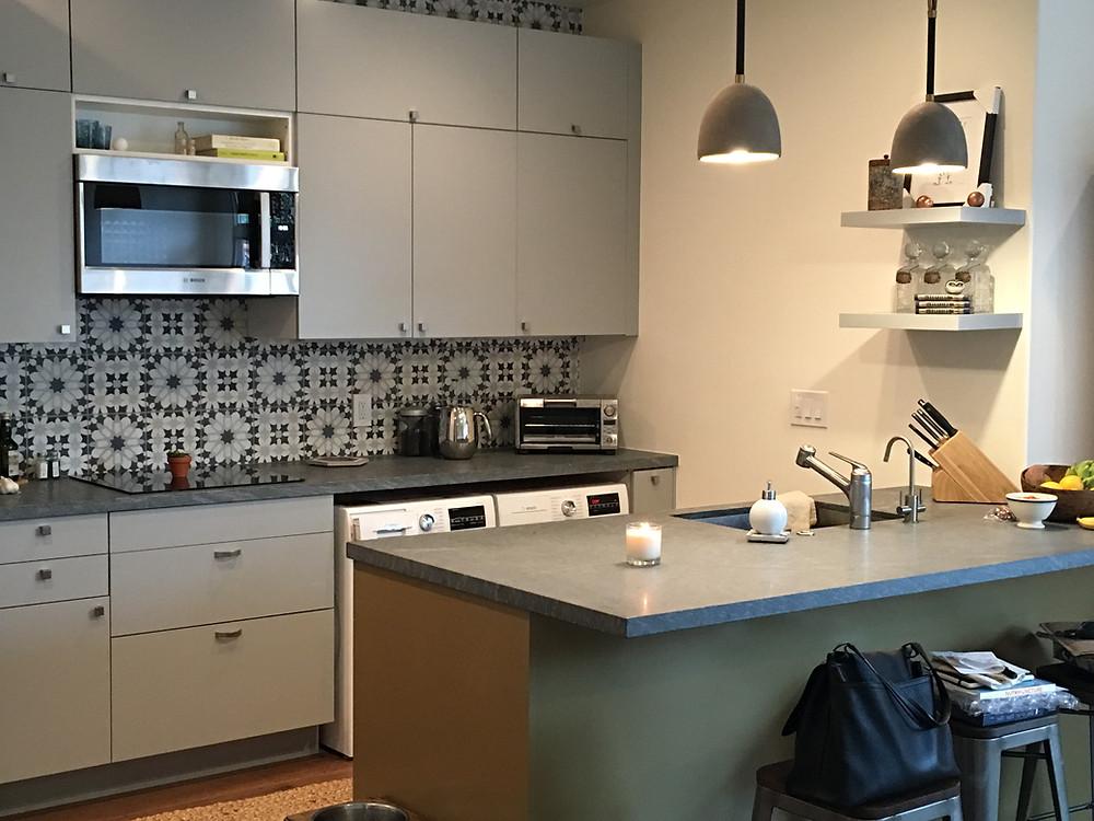Ikea boxes, Semi-Handmade doors, Ann Sacks tile, Pietra Cardoza counters
