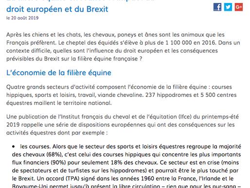 """""""La filière équine en France : l'impact du droit européen et du Brexit."""" Vie publique.fr"""