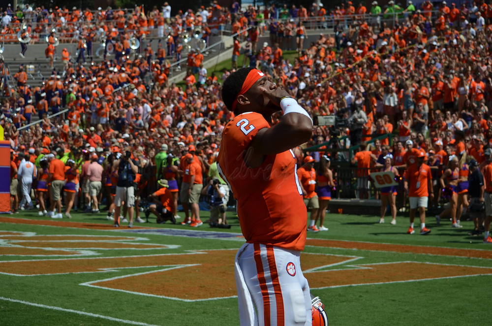 Kelly Bryant blows a kiss to student section