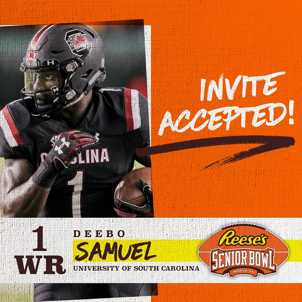 WR Deebo Samuel @Uno_captain from @GamecockFB has officially accepted his invitation to the 70th Reese's Senior Bowl! #SeniorBowl #CompeteAndConnect #NFLTraditionInMobile
