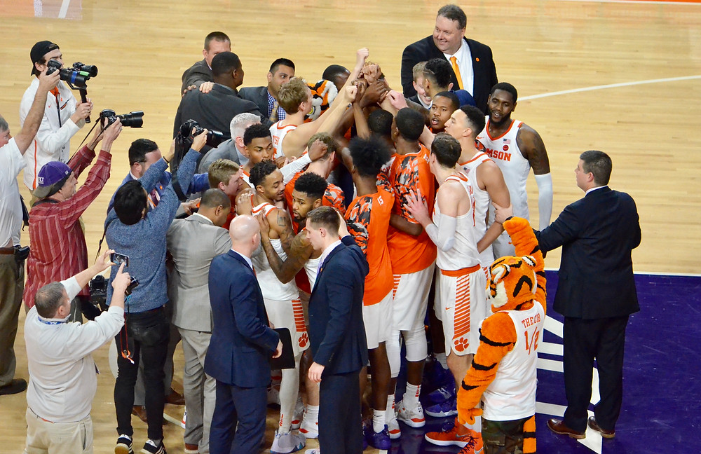 Tigers celebrate win over #11 Virginia Tech // Photo by Austin Silvey