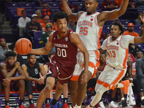 Simms Scores 21 Points as Tigers Fall to Gamecocks