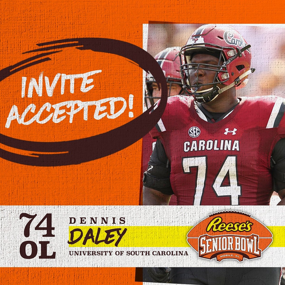 OL Dennis Daley @Crank954 from @GamecockFB has officially accepted his invitation to the 70th Reese's Senior Bowl! #SeniorBowl #CompeteAndConnect #NFLTraditionInMobile