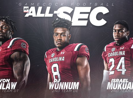 Three Gamecocks Named Second Team All-SEC by the Associated Press