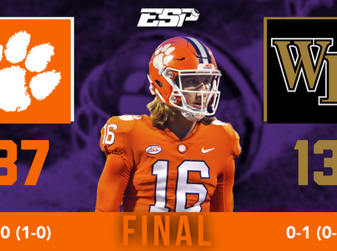 Lawrence and Etienne Shine as Clemson Defeats Wake Forest, 37-13 to Open Season