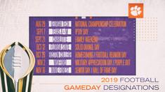 Clemson Announces 2019 Gameday Designations