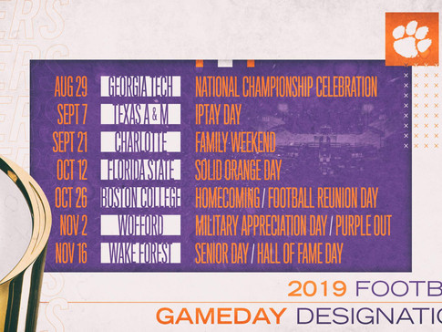 Clemson Announces 2019 Gameday Designations