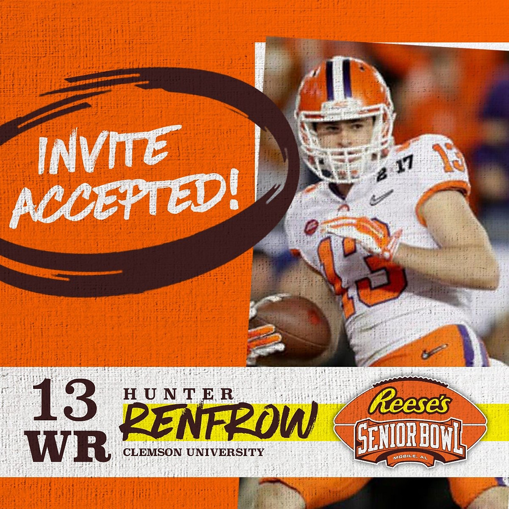 WR @Renfrowhunter from @ClemsonFB has officially accepted his invitation to the 70th Reese's Senior Bowl! #SeniorBowl #CompeteAndConnect #NFLTraditionInMobile