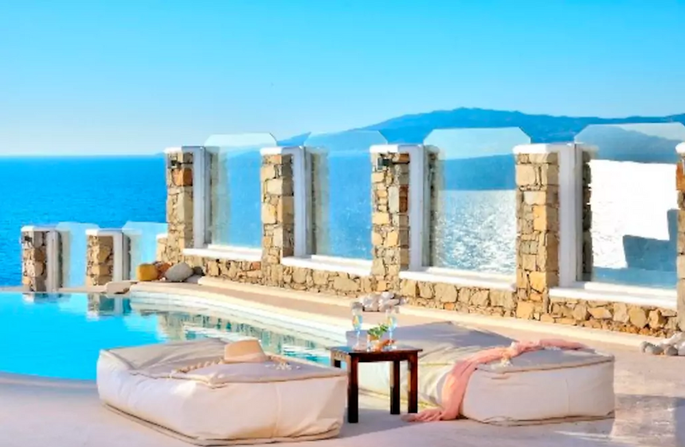 enjoy the view from our private villa in Mykonos with Helenika Travels
