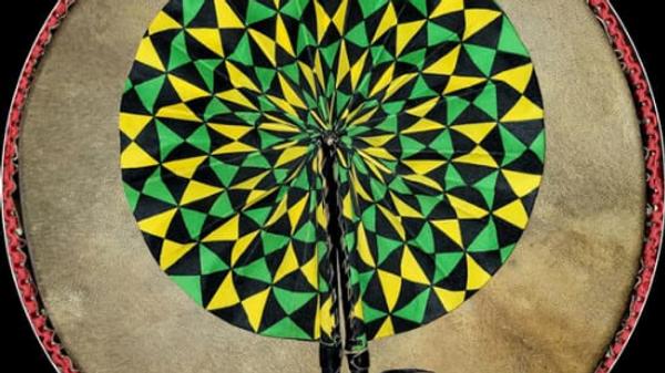 Large Ankara Fan ( Green, Black, Yellow)