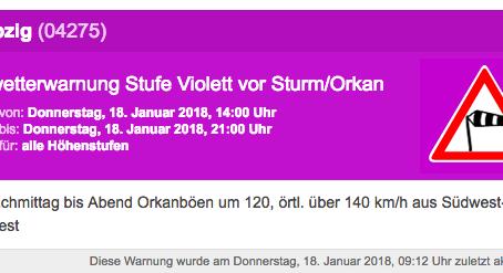 Unwetterwarnung für Leipzig