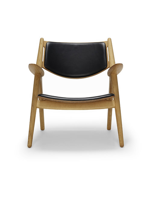 CH28P | loungestol eg olie og sort Thor læder