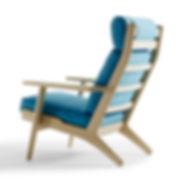 Getama model GE290A høj stol set bagfra - tegnet af Hans J. Wegner