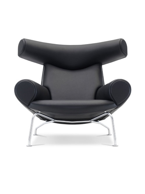 Ox-Chair | Hans J. Wegner | EJ100 Sort | Sort Cava læder