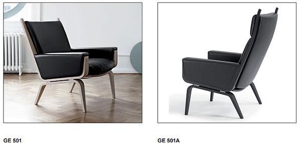 Getama model GE501 lav stol og GE501A høj model - Tegnet af Hans J. Wegner