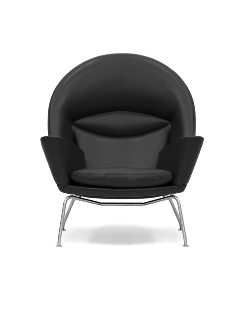 CH468   Oculus Chair   Sort Thor læder