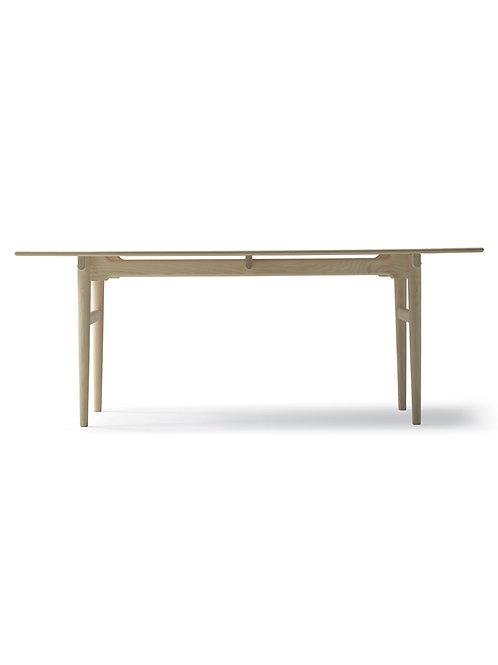 CH327 | spisebord eg sæbe med 2 plader i sort lakeret mdf | 95x190 (270) cm.