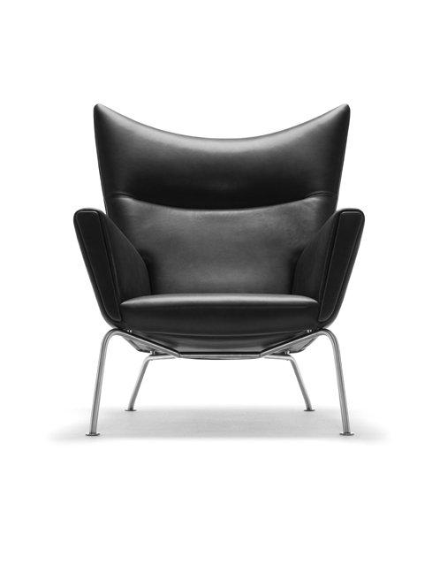CH445 | Wing Chair | Sort Thor læder