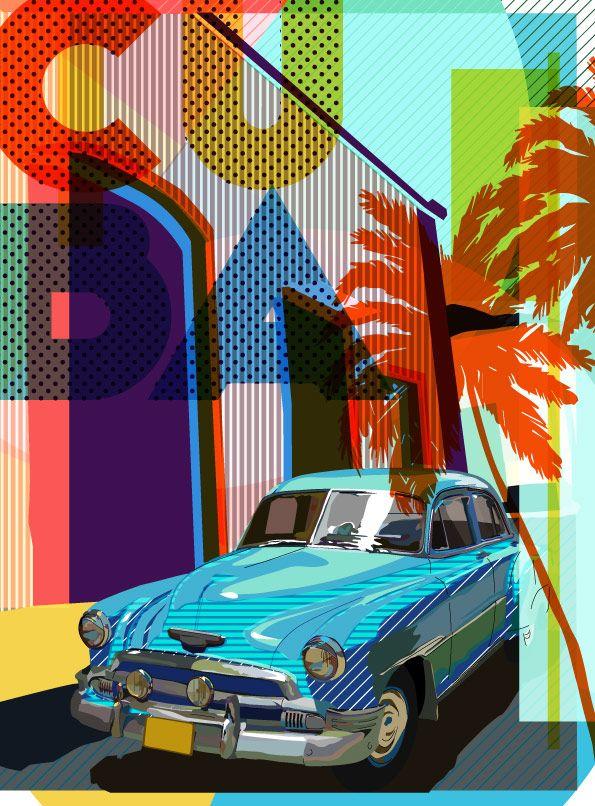 cuba car artwork background image