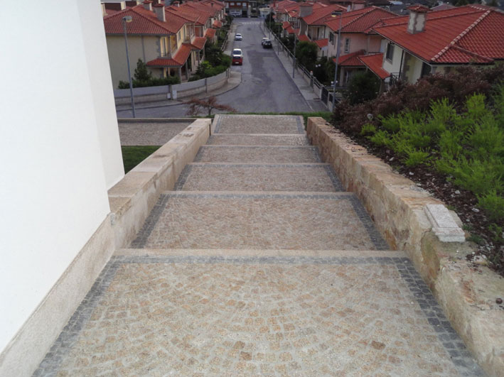 Stairs paved in granite