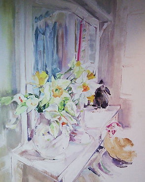 Daffodils on bedroom dresser .Oil on can