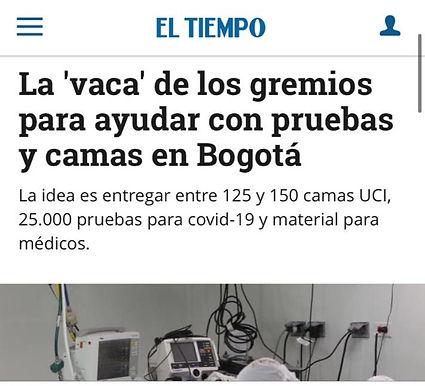 La 'vaca' de los gremios para ayudar con pruebas y camas en Bogotá