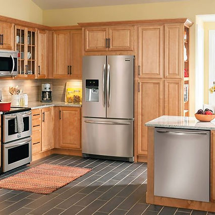 kitchen  appliances stove dishwasher microwave rug refrigerator