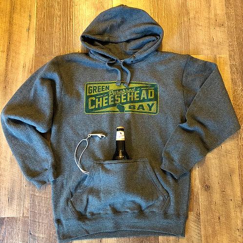 Purebred Cheesehead™ koozie & bottle cap tailgate hoodie. (Unisex)