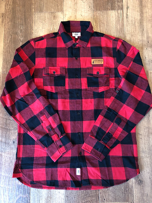 Northwoods Style™ leather patch buffalo plaid red/black flannel (unisex)