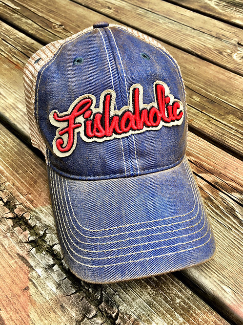 Fishaholic, Red, White and Blue Trucker