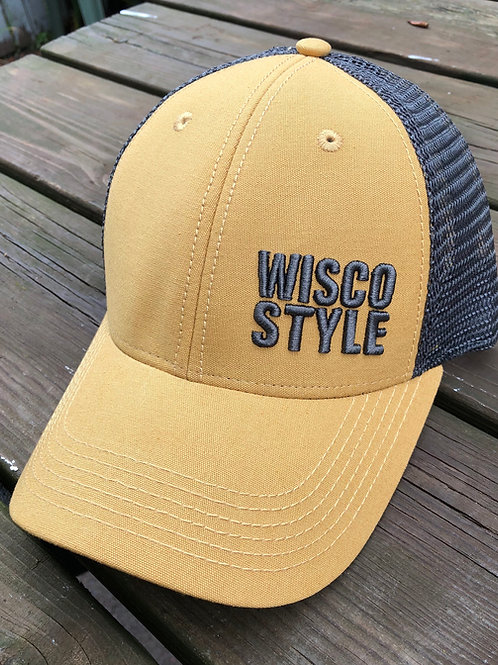 WISCO STYLE™ 3D stitch Lo-Pro SnapBack Dark Gold/Grey Trucker