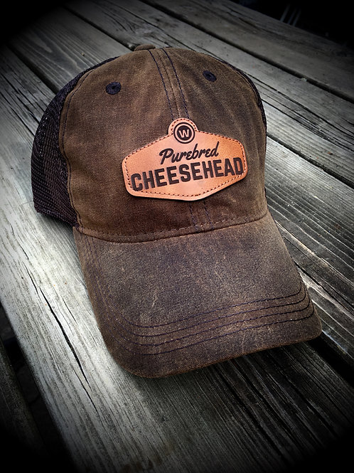 Vintage Waxed Cotton Purebred Cheesehead™ leather patch brown (water resistant)