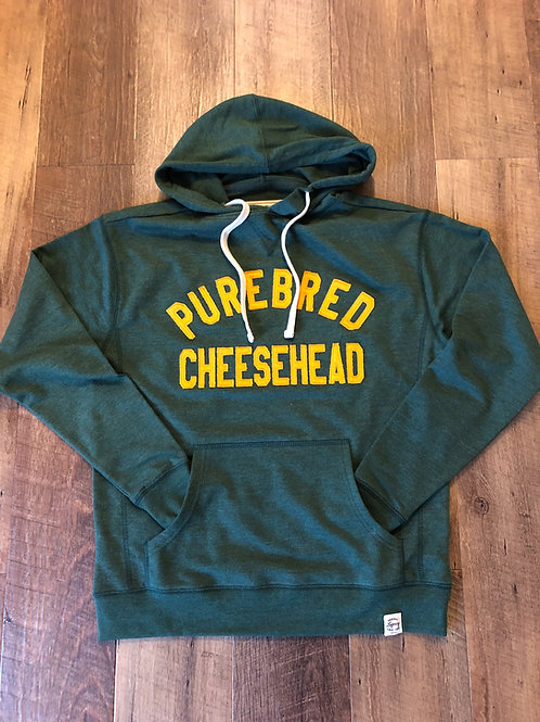 Vintage stitched Purebred Cheesehead™ mid weight green/gold hoodie unisex