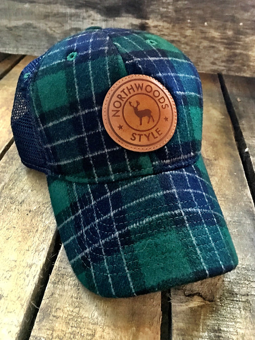 NORTHWOODS STYLE™ Wool Flannel/Leather Patch Green Plaid
