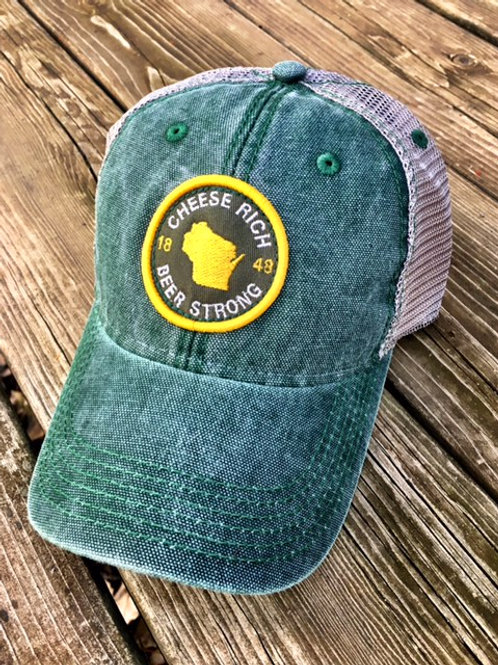 CHEESE RICH BEER STRONG CANVAS TRUCKER,GREEN
