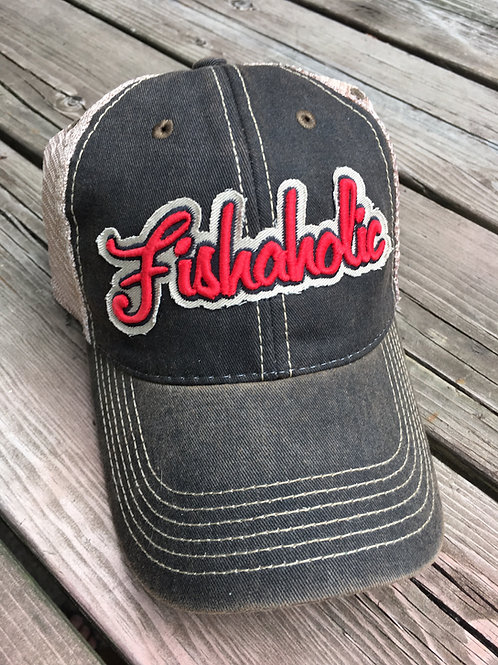 Fishaholic, Faded Black & Red Trucker