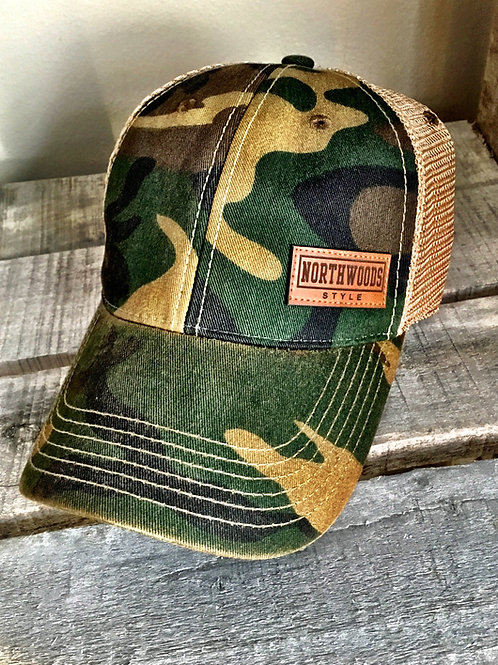 NORTHWOODS STYLE™ CAMO LEATHER PATCH TRUCKER HAT