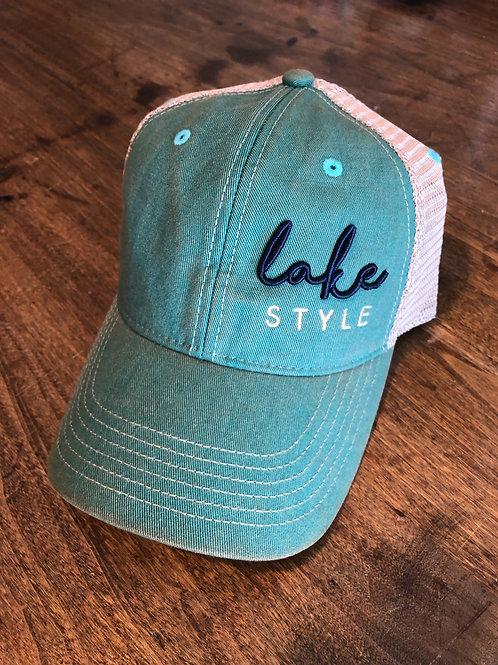 Lake Style trucker SnapBack hat. (Aqua Blue)