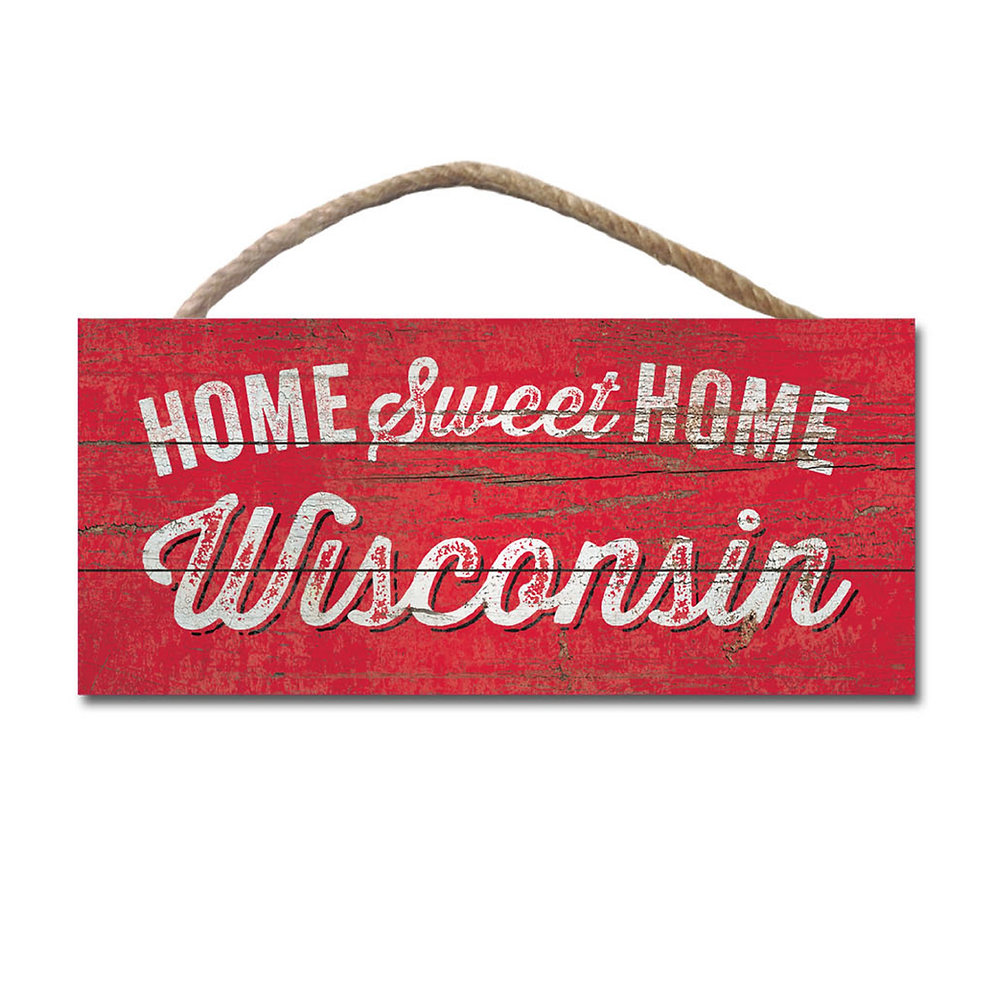 Vintage Home Sweet Wisconsin 10 X 5 Wood Sign