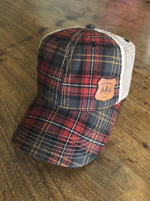 Northwoods Style™ leather patch plaid light weight hat.