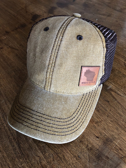 Wisco Style™ leather patch Camel brown trucker hat.
