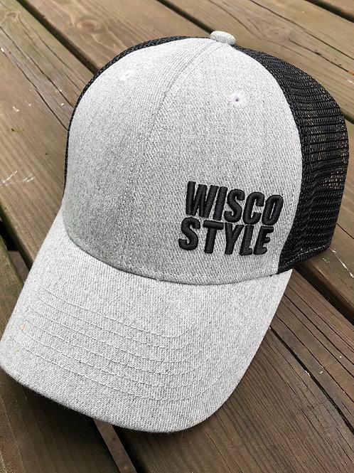 WISCO STYLE™ 3D stitch Lo-Pro SnapBack Heather Grey/Black Trucker